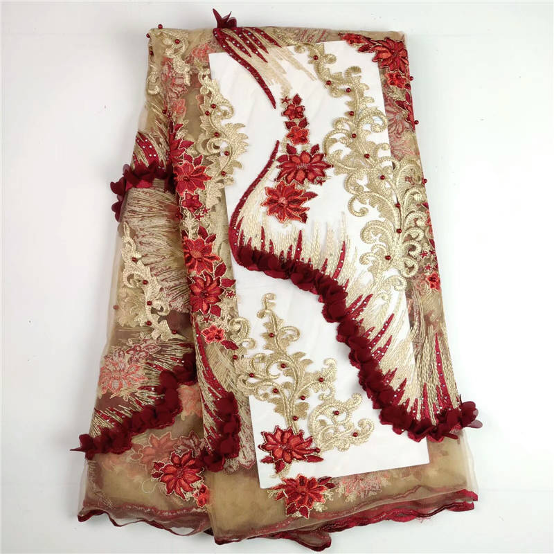 Latest african laces nigerian lace fabrics for wedding 2019 lace embroidered stones and beads red lace fabric