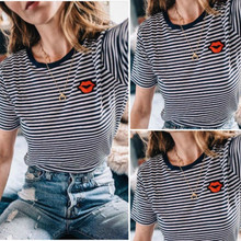 Fashion Women Summer T-Shirt Tees Casual Striped Loose Short Sleeve Lips  Embroidery Tops Cotton 3a53db6dbc54