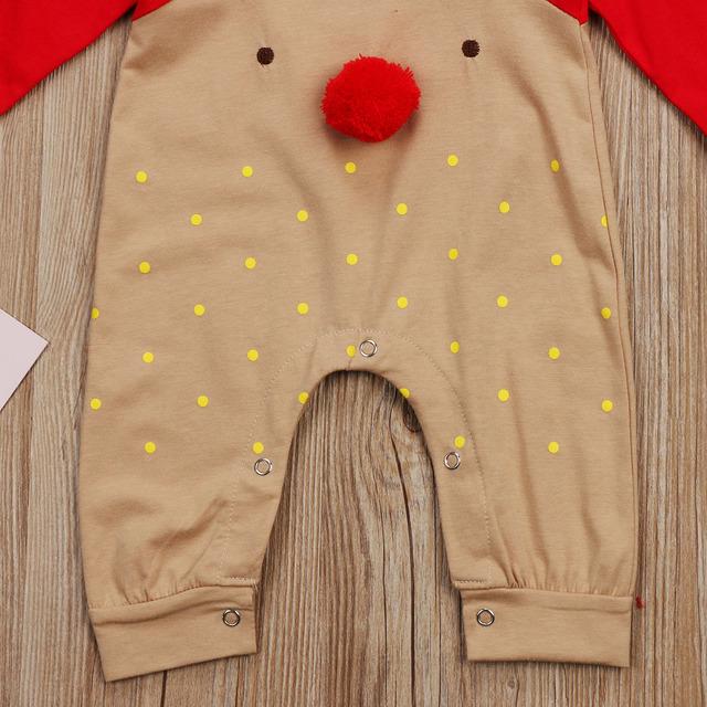 Newborn Baby Boys Girl Christmas Rompers Long Sleeve Deer Romper Jumpsuit Sleepwear Party Costume Baby Clothes