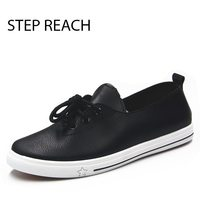 STEPREACH Brand Shoes Woman Flats Women Zapatos Mujer Pu Leather Basic Adult Lace Up Round Toe