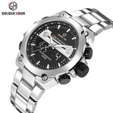 2018 Цифровой Dual Watch Для мужчин Нержавеющаясталь ремешок Календарь Светодиодный Дисплей лучший бренд класса люкс Водонепроницаемый наручные часы для человека