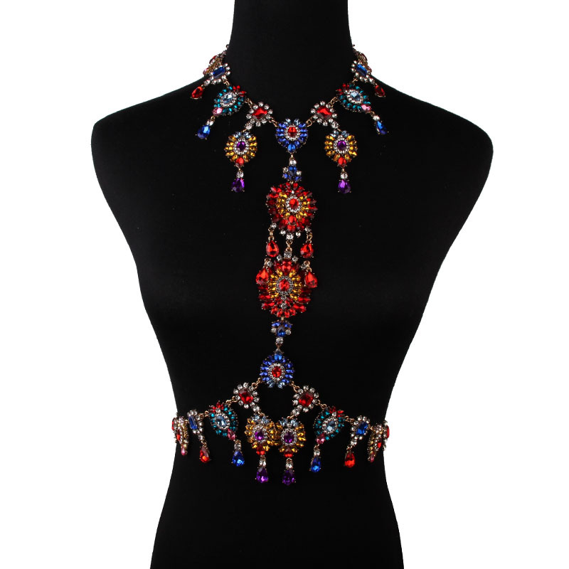 Sexy Gem Summer Body Chain Luxury Chunky Flower Necklace&pendant Maxi Femme Statement Instagram Hotsale