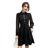 Women Little Black Dress Classic Temperament Slim Retro High Waist Slimming Long Sleeve Turn Down Collar Femme Short Jupe MZ3356