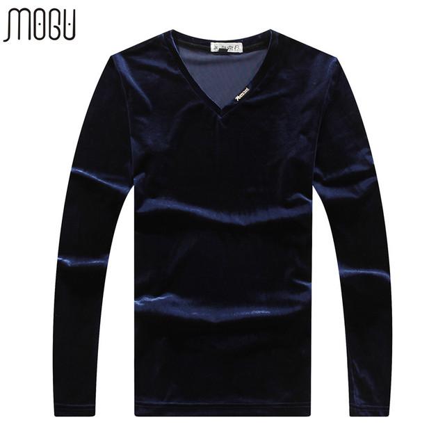 Mens T Shirts Moda 2016 Más El Tamaño 5XL Cuello V hombres Sportswear Mangas Llenas de Estilo Coreano Ocasional Otoño En Forma sólida