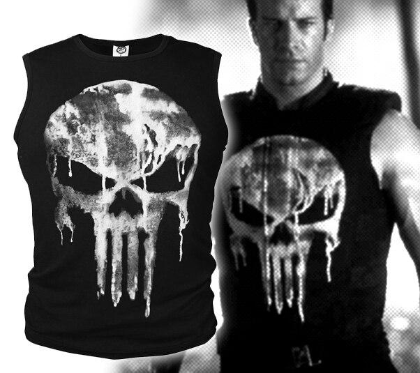 Lycra Cool t shirt The Punisher Skull T shirt Delgado negro o cuello ... e5cb68c6ad2