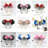 10pcs Beautiful Rose Gold Colorful hair Sequins Mickey Minnie Mouse Ears solid black headband boy birthday party celebration