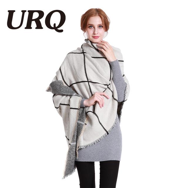 2017 new plaid warm winter scarf for women very heavy thicken warm soft shawl wrap white grey hijab dady URQ