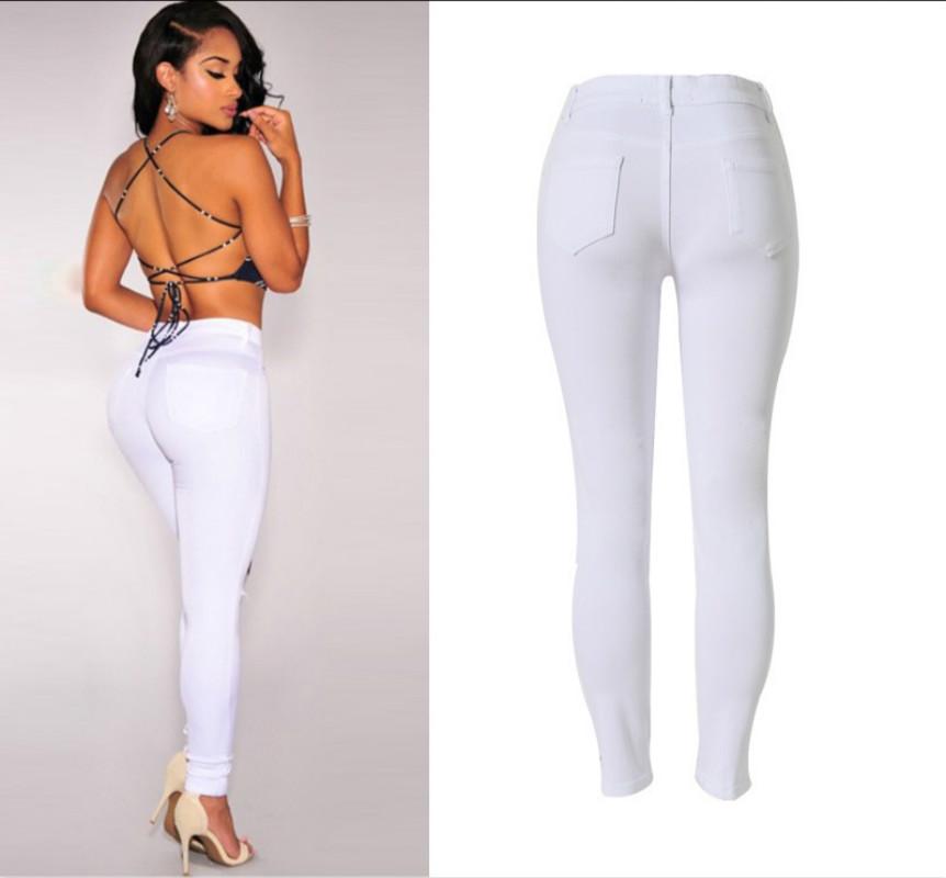 f4735fefc141f 2019 Knee Hole White Cotton Trousers Feminina High Waist Stretch ...