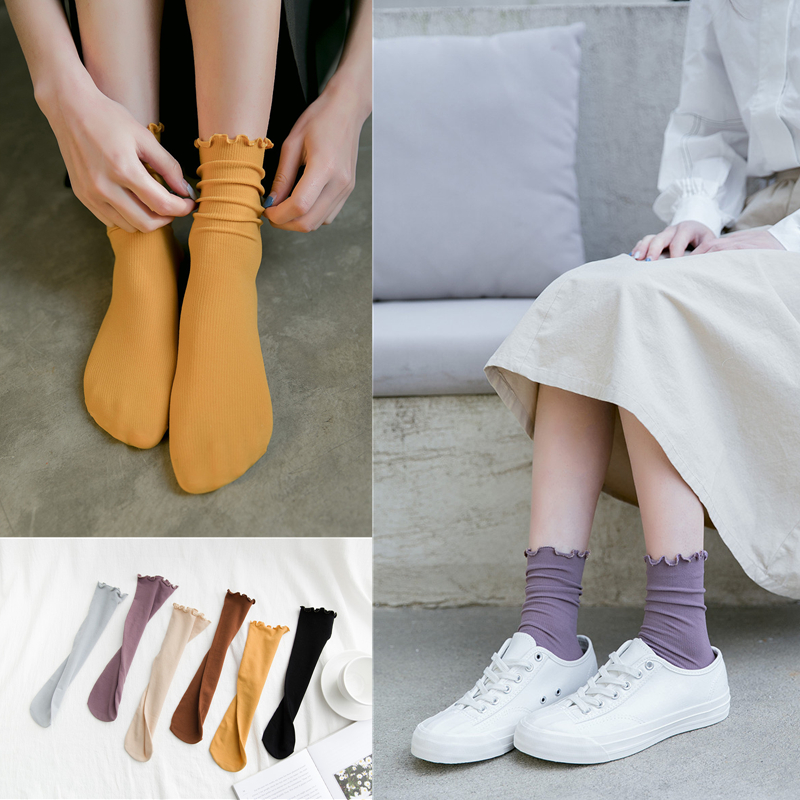 2019 New Spring Women Casual   Socks   1 Pair Long Solid Candy Color Thin Breathable   Socks   Casual Fashion Lady Happy   Socks