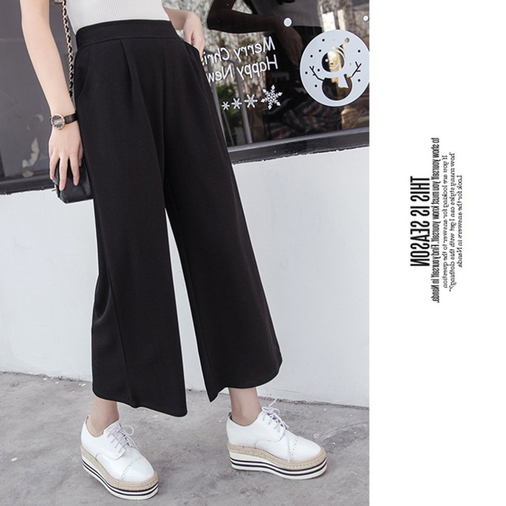 Women   Pants   Spring Casual Mid Waist Ankle Length Black Harem   Pants   Leisure Trousers Ladies Loose   wide     leg     pant