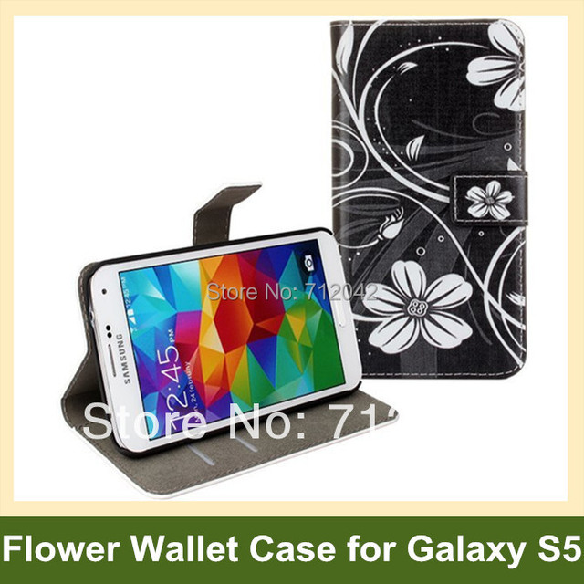 Cute Butterfly Flower Print Wallet Cover Case for Samsung Galaxy S5 SM-G900F PU Leather Flip Case for Galaxy S5 Drop Shipping
