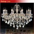 Mejor Precio 10 luces de Nueva Lámpara de Lujo K9 Crystal Lámparas de Iluminación E14 LED Vestíbulo del Hotel lustres Iluminación