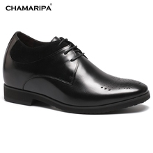 CHAMARIPA Increase Height 10cm/3.94 inch Elevator Shoes Men Casual Height Increasing Gentlemen Hidden High Heel Shoes