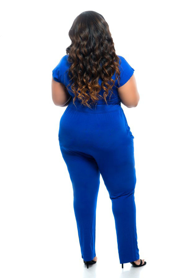 ba7efe087f4 Black blue super sexy deep V neck jumpsuits plus size tie waist jumpsuit  narrow feet jumpsuits for big size women club wear-in Jumpsuits from  Women s ...