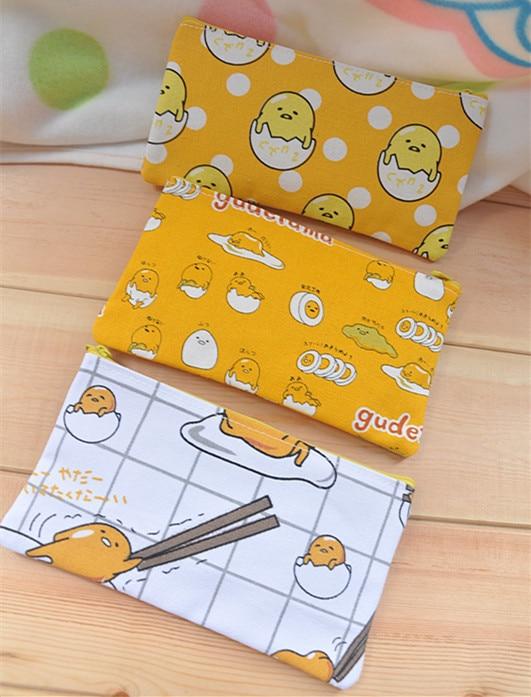 IVYYE 1PCS Lazy Gudetama Anime Cosmetics Bags Canvas Zipper School Pencil Case Storage Pen Bag Pouch Stationery New