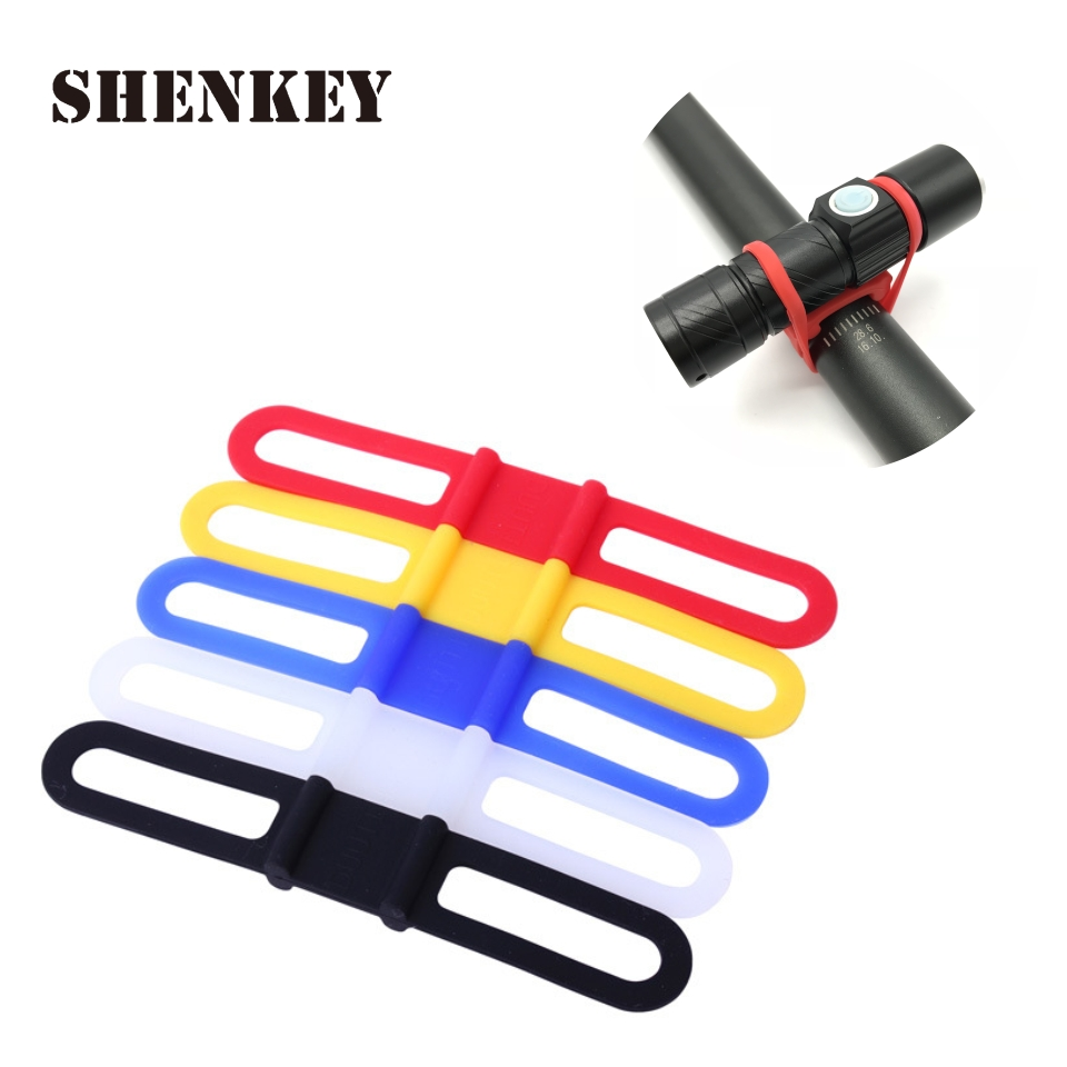 2PCS Bicycle Light Holder Bicycle Handlebar Silicone Strap Band Phone Fixing Elastic Tie Rope Cycle Bandages Bike Accessories