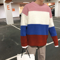 2018 Summer Simple Striped Contrast Color Round Neck Long sleeved Sweater Men's Casual Comfort Fabric Popular Loose