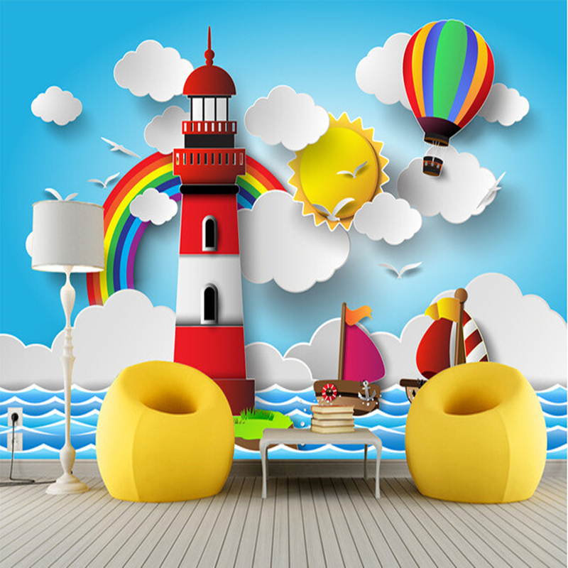 Custom papel DE parede infantil,lighthouse, rainbow, the sun murals for children room bedroom setting wall waterproof wallpaper custom papel de parede infantil see graffiti mural for sitting room sofa bedroom tv wall waterproof vinyl which wallpaper