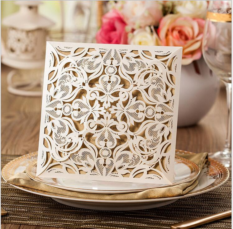 Laser Cut New Arrival Wedding Invitations Cards Kit Square Lace Engagement For Marriage Anniversary Birthday Paper