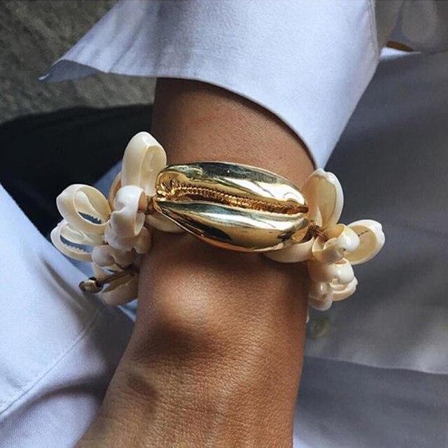 Boho pulseira feminina NATURAL big puka COWRIE shell pulsera pulseras para mujer regalo bijoux joyería bohemios brazaletes
