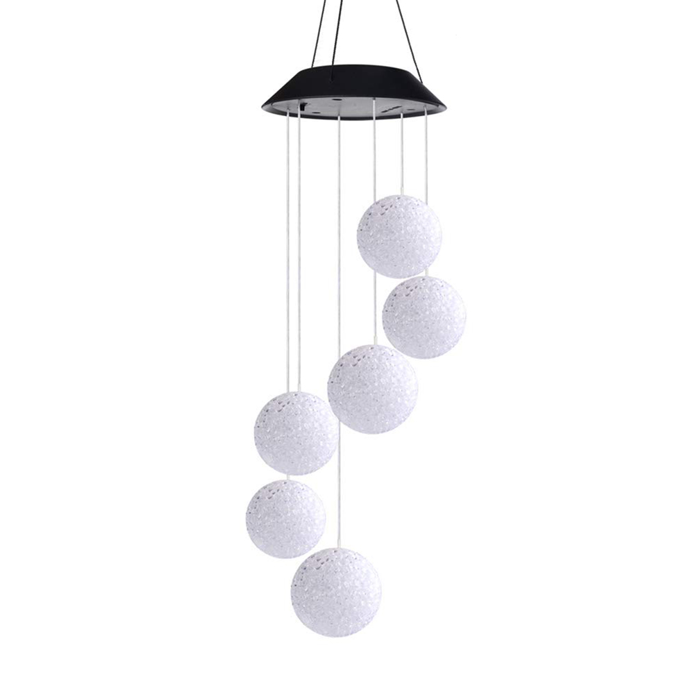 Outdoor Solar LED Ball Light Colorful Wind Chime Light Decoration Lamp @LS