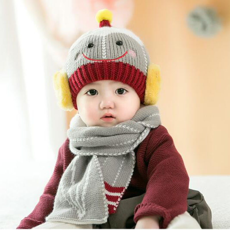 2 Piece/ Set Baby Winter Smile Hat With Scarf For New Born Bebe Kid Warm Cap And Scarf Set 3 Months-3 Years Old