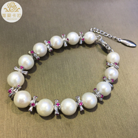 WEICOLOR AAAA White Round Natural Freshwater Pearl Bracelet ,Silver Pink Shining Items ,Lobster Clasp With Adjustable Chain