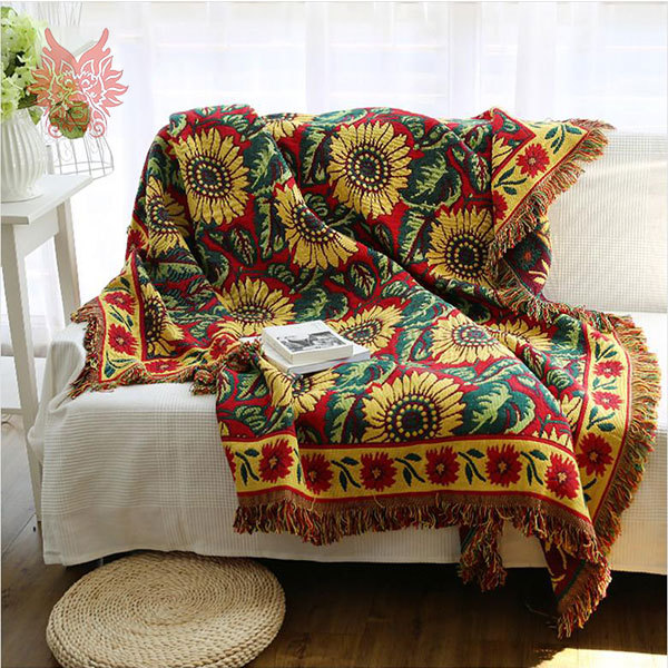 Blanket Sofa Cover: 100%Cotton Sofa Cover Sofa Towel With Sunflower Jacquard