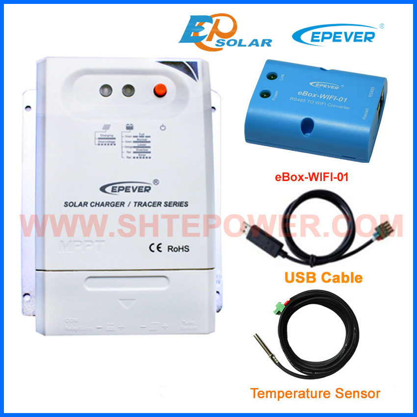 regulator 20A 20amps MPPT EPEVER Free Shipping USB cable+temp sensor Tracer2210CN eBOX-Wifi-01 Solar controller EPsolar 20a mppt solar battery controller epsolar epever tracer2210an 20amps usb cable and mt50 remote meter temp sensor