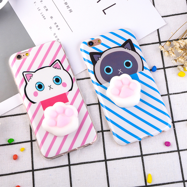 meet 2b7a5 401fc US $2.14 25% OFF|3D Cute Squishy Cat Phone Cases for iPhone 7 6 6S Plus  Case Funny Pressure Release toy Soft Silicone Squeeze Cats Paw Back  Cover-in ...