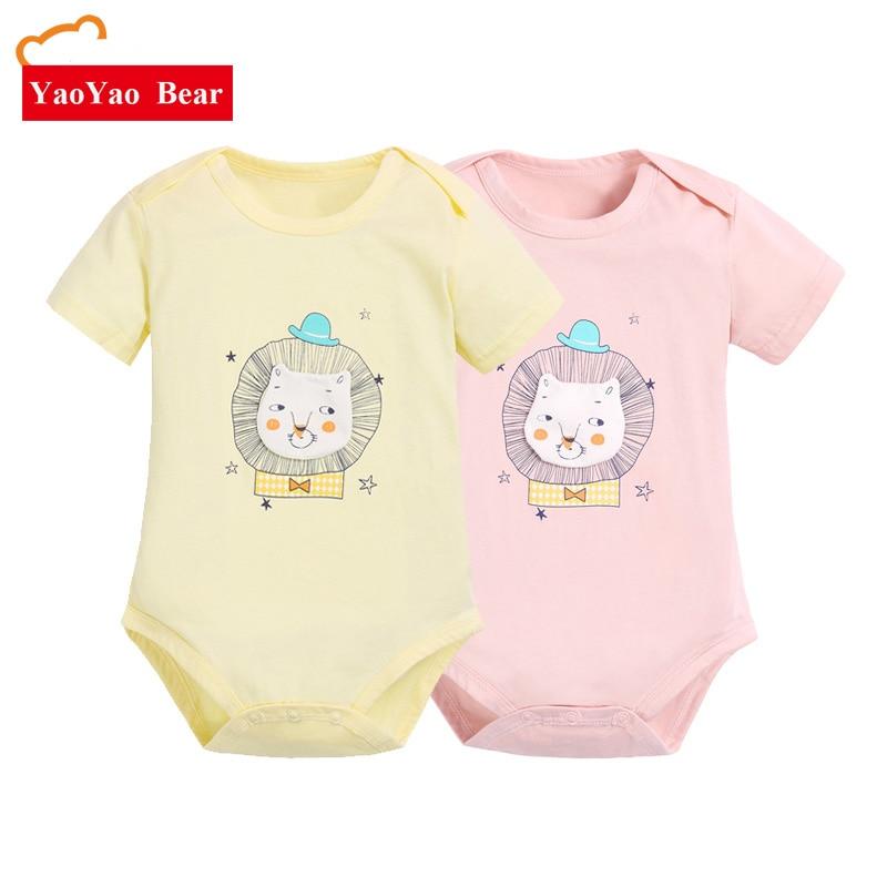 2pcs / lot korte mouw baby body's 100% katoen dierenprint pasgeboren - Babykleding