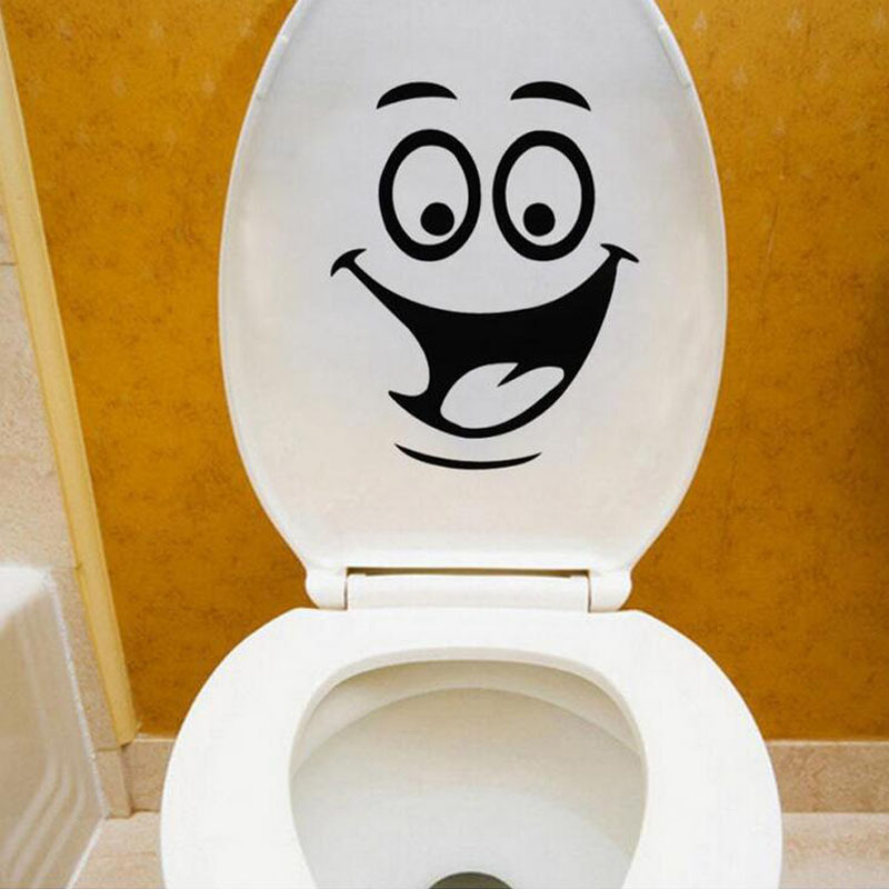 Smiley Toilet Stickers Bathroom Wall Sticker Home Decoration Waterproof  Removable Wall Stickers Vinyl Decals Art Pvc Poster