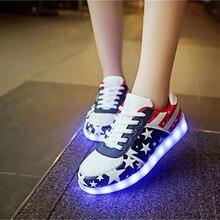 Maidun Frauen Mode Leuchten Schuhe Tanzen oder Party USB Wiederaufladbare und USA Flagge Für Frauen Turnschuhe
