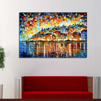 Canvas Painting Pure Handpainted Abstract Celebration Knife Oil Painting Quardro Wall Picture For Home Decor New Year Best Gift