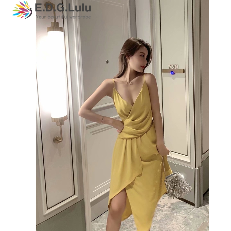 EDGLulu slip <font><b>dress</b></font> black summer <font><b>dress</b></font> 2019 fashion party midi new arrival runway v neck <font><b>dress</b></font> image