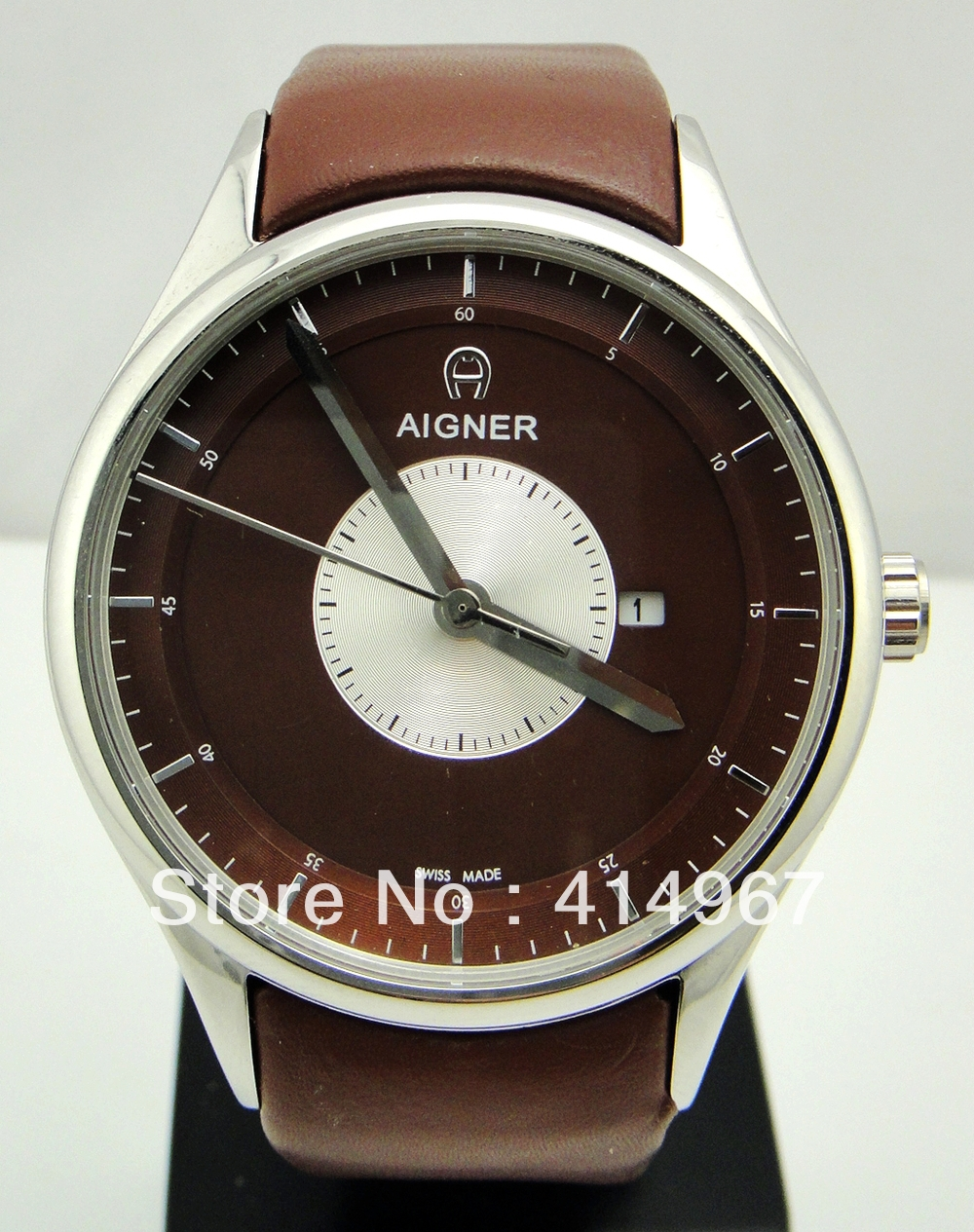 aliexpress com buy aigner two tone dial silver stick markers aliexpress com buy aigner two tone dial silver stick markers case leather strap quartz men s watch black white brown from reliable watch strap compass