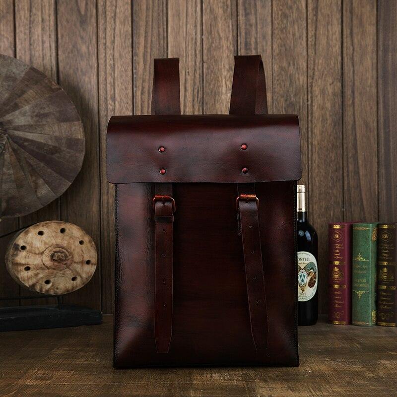 Haute Qualité Homme À La Main Légumes Huile de bronzage en cuir Véritable sac à dos Femmes École Épaule Sac Bagpack mochila