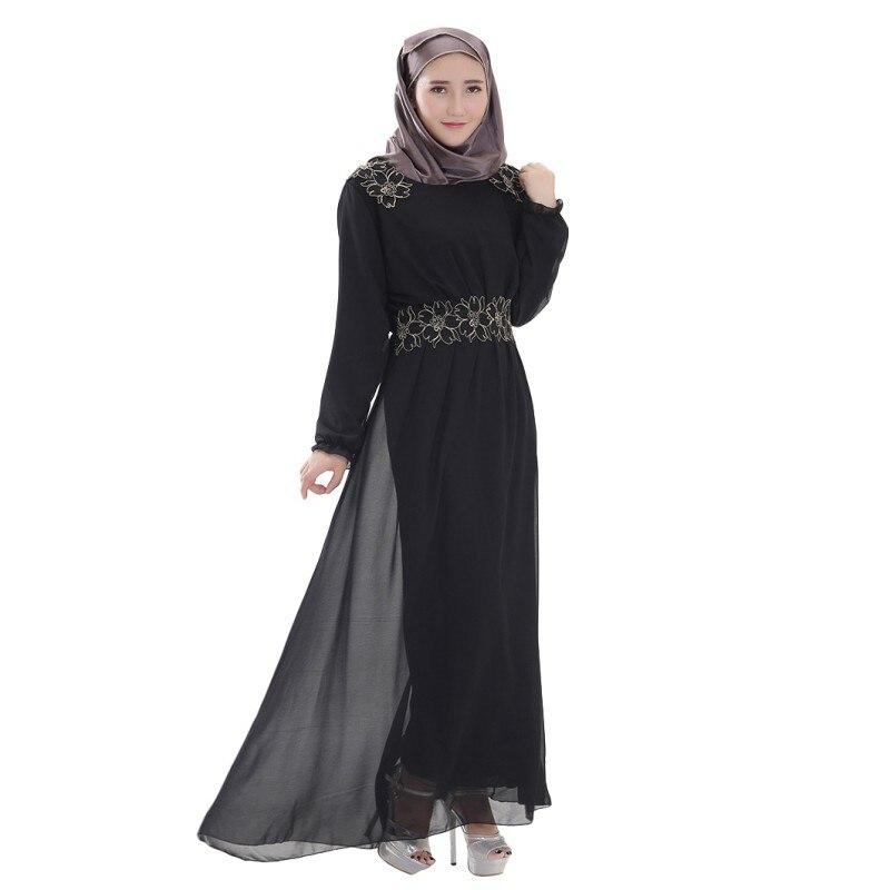 Retro Womens Kaftan Abaya Islamic Muslim Long Sleeve Chiffon Long Maxi Dress