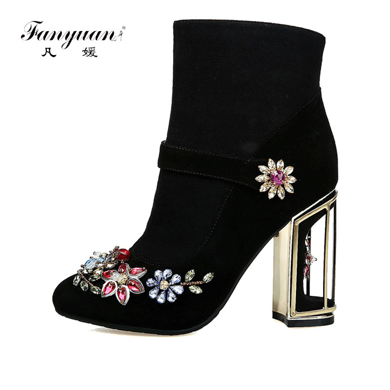 Fanyuan Spring Ankle Boots Womens Cutouts Bird Cage High Heels Shoes Woman 2017 National Style Crystal Zip Suede Boots Big SizeFanyuan Spring Ankle Boots Womens Cutouts Bird Cage High Heels Shoes Woman 2017 National Style Crystal Zip Suede Boots Big Size