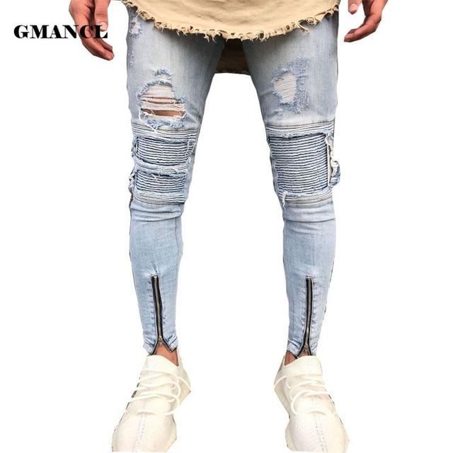d30e0cfaa14 New Fashion Destroyed Knee Holes Biker Jeans Men Ripped Distressed Skinny  Hem zipper Jeans Stretch Denim Joggers Pants Trousers