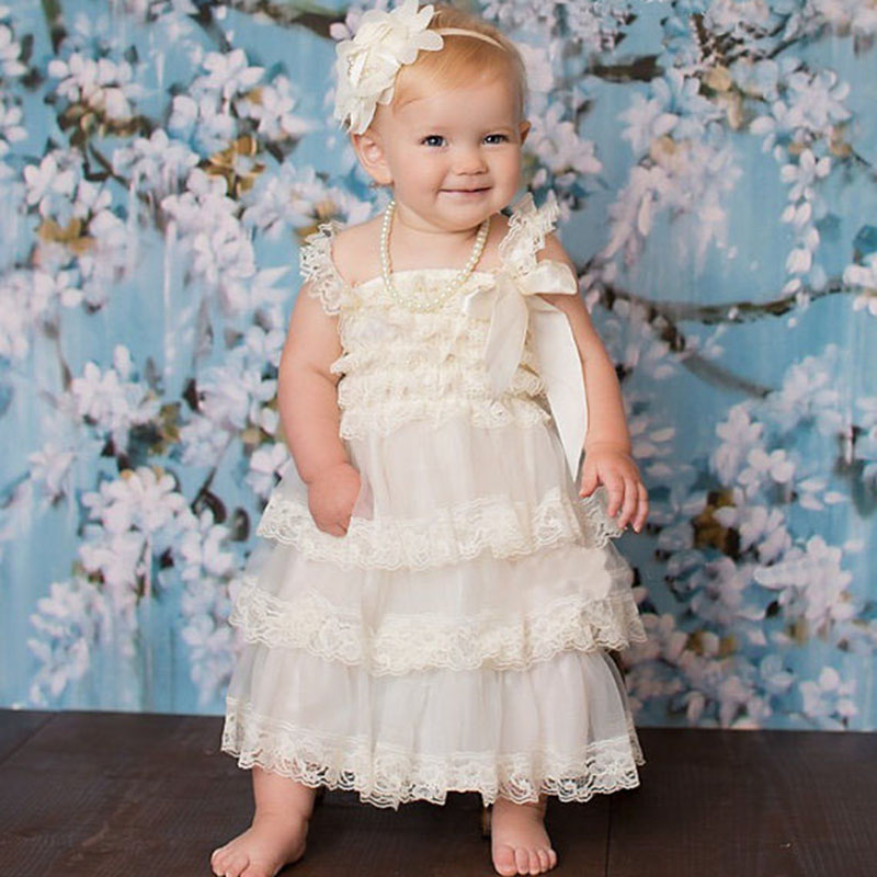 8b245475 Summer New Fluffy 3 Layer Flower Baby Girl Lace Dress Newborn Baby Clothes  Sleeveless Wedding Pageant Party Costumes Clothing