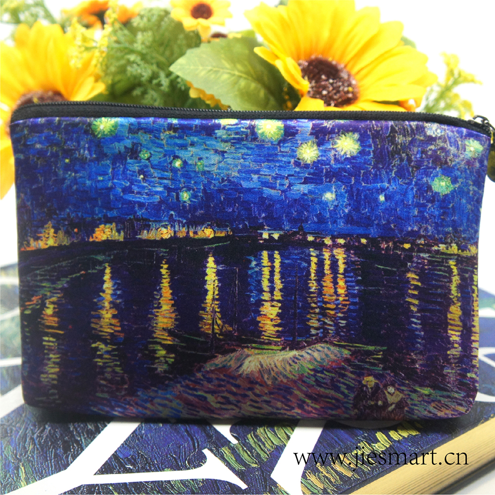Starry Night Over the Rhone Customized products storage bag artwork sublimation printing fashion cosmetic bag S