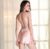 Phụ nữ Sexy Silk Satin Ren Áo Ngủ Không Tay Nighties V-Cổ Nightdress Giấc Ngủ Mùa Hè Ăn Mặc Thời Trang Đêm Mang Ngủ Mặc