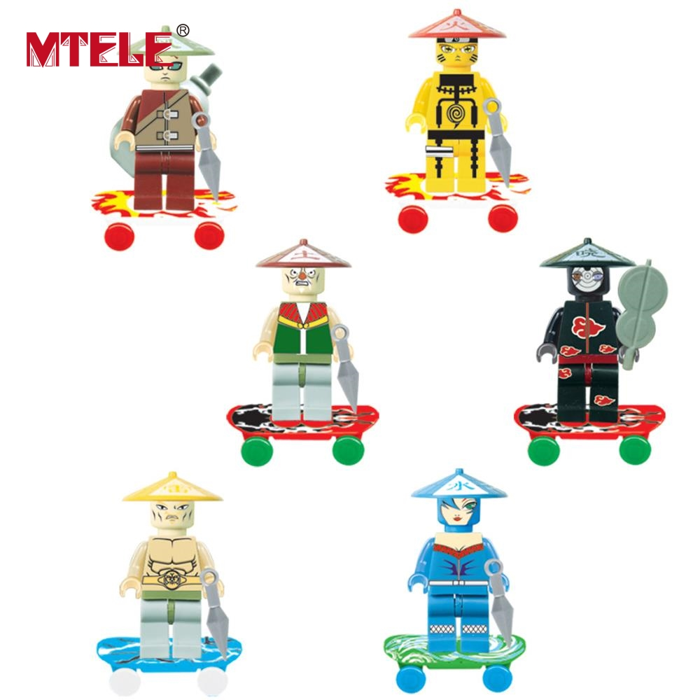 MTELE 6 Pcs/Lot Naruto Shippuden Ninja Figure Movie Super Hero Kid Baby Toy Building Blocks Sets Compatible With Lepin And Lego 8pcs lot movie super hero 2 avenger aochuang era kid baby toy figure building blocks sets model toys compatible with lego