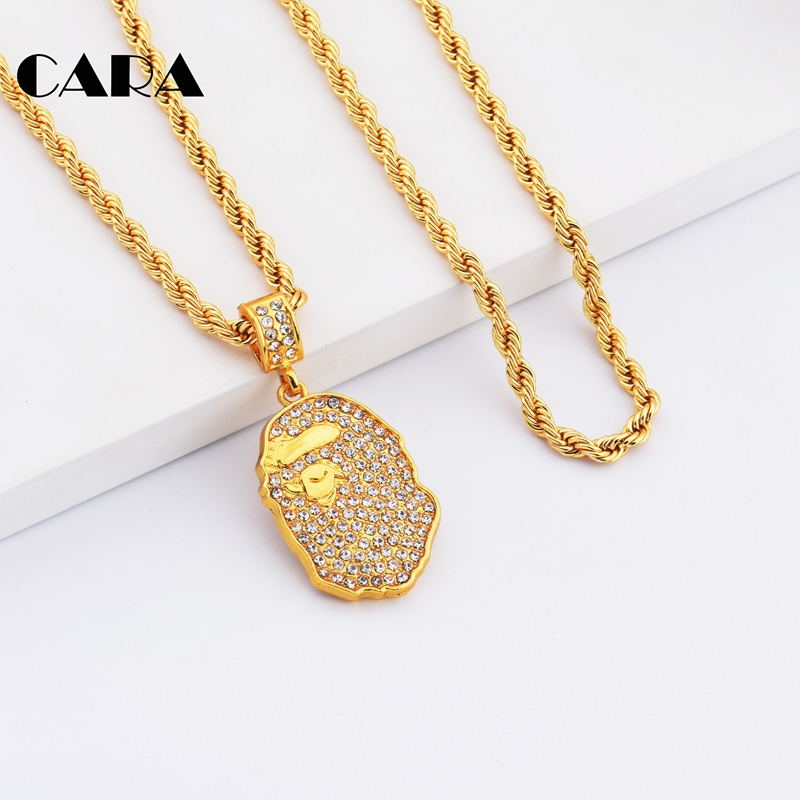 CARA New Asian trendy Iced out rhinestones Hip Hop pendant necklace men s  fashion statement long chain necklace jewelry CAGF0176 d8014939dbe2