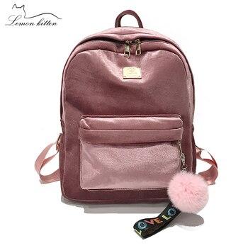 2018 New Backpack Best Velve Ribbon Backpack Female Fashion Girl Travel Bag Hairball Women Backpack Rucksack Bagpack Mochila