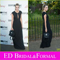 Cara Delevingne Black Dress at 2014 Serpentine Gallery Party Cap Sleeve Chiffon Evening Gown with Keyhole Cutout Long Prom Dress