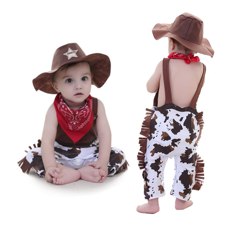 Baby Boys Cosplay Cowboy Costumes Summer Infant Toddler Romper Cowboy Clothing Halloween Christmas Birthday Party Clothes