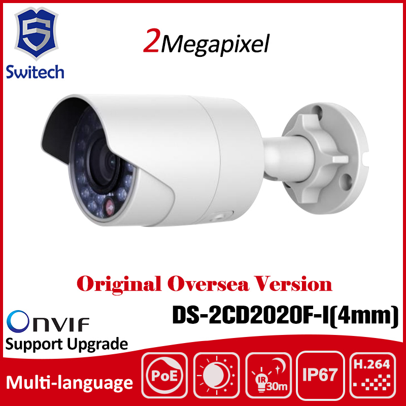 ФОТО English Version Updatable DS-2CD2020F-I 2MP Mini Bullet POE Network CCTV IP Camera 1080P Outdoor Camera Hik