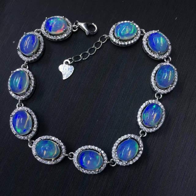 Clássico pulseira de prata opala opala natural pulseira 11 pcs 13ct sólida 925 pulseira de prata pedra preciosa jóia Luxuoso pulseira para a menina